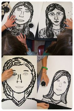 These are double self-potraits- the image is a self portrait and was created using the artists fingerprints. After students have completed their portraits they will begin working on a colorful background in the style of Chuck Close's large scale paintings. I'll be sure to post their final pieces!