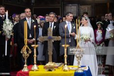 Prince Nicholas of Romania and Princess Alina of Romania attend the religious ceremony of their wedding at Sfantul IIie church celebrated by his Eminence Calinic, Archbishop of Arges Romanian Royal Family, Religious Ceremony, Royal Weddings, Church Wedding, Bridesmaid Dresses, Wedding Dresses, Still Image, Royalty, Princess