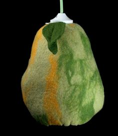 green yellow pear - wet felted hanging lamp