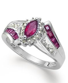 Sterling Silver Ring, Marquise-Cut Ruby (1-1/10 ct. t.w.) and Diamond Accent Ring