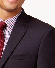 Calvin Klein Men's Slim-Fit Burgundy Textured Suit - Red 40L