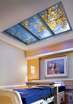 How awesome! W… Sky Factory virtual skylights, windows, & digital cinema display! How awesome! What a great idea for healthcare settings. Sky Ceiling, Ceiling Murals, Skylight Window, Window Wall, Faux Window, Hospital Design, Deco Originale, False Ceiling Design, Healthcare Design