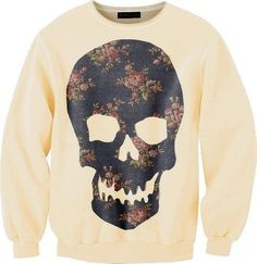 Designer Clothes, Shoes & Bags for Women Crew Neck Sweatshirt, Graphic Sweatshirt, Pretty Cats, Pretty Kitty, Floral Skull, Cool Sweaters, Sweater Jacket, Outfit Sets, Sweatshirts