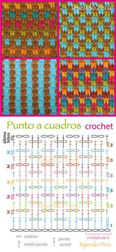 Crochet: punto a cuadritos (diagrama)! Pueden hacer muchísimas combinaciones de colores!