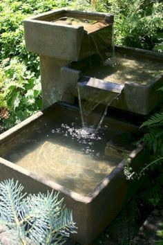 Garden Fountain Design Ideas That You Can Try In Your Home 23 Backyard Water Fountains, Landscaping With Fountains, Diy Garden Fountains, Garden Landscaping, Outdoor Fountains, Backyard Water Feature, Outdoor Water Features, Water Features In The Garden, Water Fountain Design