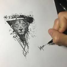 Resultado de imagen para leon rugiendo triangulos tattoo