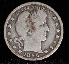 1896 Key Date Very Good Barber Quarter Scarce date. Three full letters in Liberty. Buy Coins, Coins For Sale, English Coins, Old Coins Worth Money, Silver Dollar Coin, Us Silver Coins, Best Barber, Valuable Coins, American Coins