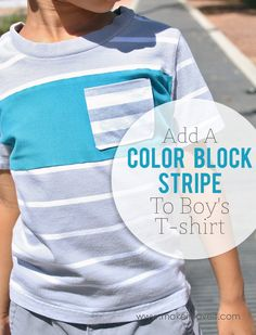 Add a Color Block Stripe to a T-shirt (...to add length). Make an old boy's T-shirt new again!