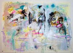 Large Abstract Painting. colorful outsider art. Art by crudeart