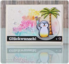 "Geburtstagskarte, Glückwunschkarte   birthday or congrats card - My Favorite Things ""Penguins in Paradise"", Hero Arts ""Flower Dot Pattern"", Stempelküche ""Blablabla"", Copics"