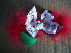 Santa Claus Boutique Double Hair Bow with Marabou by preciouscurls, .