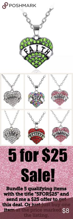 "🎉5/$25 Faith Rhinestone Necklace Faith Rhinestone Heart Necklace  Chain 20"" Pendant 1""  See my other listings with 5 for $25 SALE and save on a bundle! Lots of clothes, makeup and new boutique items. Great for Christmas gift giving or stocking stuffers. I love accepting offers. Jewelry Necklaces"