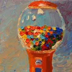 "Daily Painting: Day 5 ""Candy machine"" Oil on panel 6""x6"""