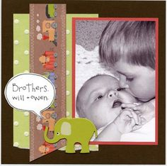 elephant baby boy scrapbook page