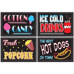 Concession Stand Mini Party Signs In the last 30 years, the Carnival Food, Carnival Themes, Party Themes, Party Ideas, Circus Theme, Themed Parties, Backyard Carnival, Birthday Parties, Circus Circus