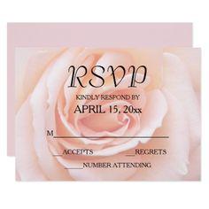 Blush Pink Rose Floral Wedding RSVP Card - wedding invitations cards custom invitation card design marriage party