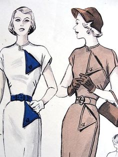 1940s STUNNING Slim Dress Day or EveningPattern BUTTERICK 5119 Straight Silhouette Dress Asymmetric Look Bust 32 Vintage Sewing Pattern