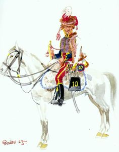 Duchy of Warsaw-trumpeter of 10th Hussars Regiment election in uniform near 1812 Fig. H Knotel.