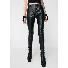 Punk Rave Black Leather Pants ($115) ❤ liked on Polyvore featuring pants, black, leather zipper pants, skinny pants, real leather pants, leather pants and leather trousers