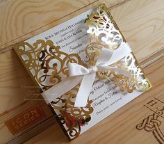Roses and Gold Foil wedding invitation White gold and red