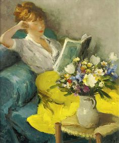 """Claudine Reading. Marcel Dyf (French, 1899-1985). Oil on canvas.  In 1954, Dyf met model and soon-to-be """"artist muse"""" Claudine Godat. At 19, Claudine was some 36 years younger than Dyf, and striking in all aspects. The artist believed her to be his perfect model. Godat proved to be an artistic catalyst in Dyf's life, causing the journey in the artist's oeuvre to maturation. In 1956, the couple married, buying a 16th century hunting lodge located at Bois d'Arcy near Versail"""