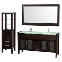 "Daytona 60"" Double Bathroom Vanity Set by Wyndham Collection - Espresso | Free Shipping"