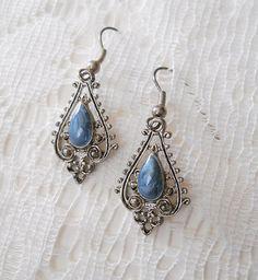 Vintage Blue Enamel Antiqued Filigree Silver tone Earrings by MawsVintageAdornment,    SOLD #Vintagejewelry #GVSteam #Gotvintage