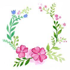 Coroa De Flores, Floral, Aquarela, Cartão