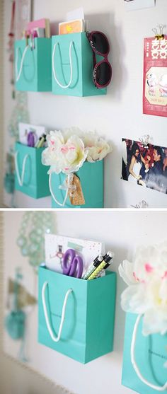 Cool DIY Ideas & Tutorials for Teenage Girls' Bedroom Decoration - For Creative Juice Shopping Bag Supply Holders: Instead of throwing away, you can repurpose those really cute and real Teenage Girl Bedroom Designs, Teen Girl Rooms, Girl Bedrooms, Cool Bedrooms For Teen Girls, Ideas Habitaciones, Life Hacks Every Girl Should Know, Diy Home Decor Rustic, Farmhouse Decor, Ideas Para Organizar