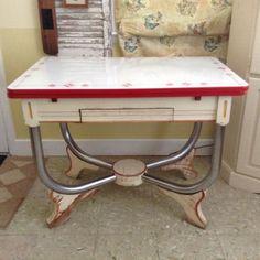 1940 S Vintage Porcelain Enamel Top Kitchen Table With Drawer