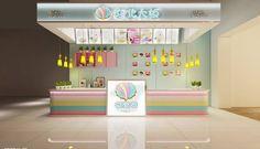 Ice cream kiosk cart Mall Kiosk, Kiosk Design, Mini Donuts, Cart, Ice Cream, Neon, Interior Design, Home Decor, Mini Doughnuts