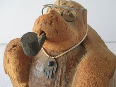 Vintage Coconut Professor, Vintage Tramp Art, Florida Souvenir, Folk Art, Hamsa Necklace, New Age by HobbitHouse on Etsy
