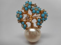 Vintage Scarce Boucher Turquoise and Pearl by JewelryMenagerie