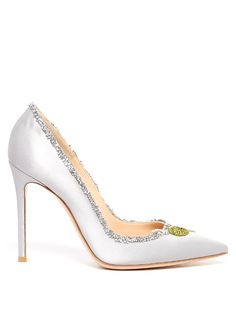 GIANVITO ROSSI Olive Crystal-Embellished Satin Pumps. #gianvitorossi #shoes #pumps