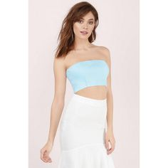 Tobi Anything Goes Strapless Crop Top (125 ILS) ❤ liked on Polyvore featuring tops, light blue, cut out crop top, strapless cropped bustier, light blue crop top, crop top and strapless top