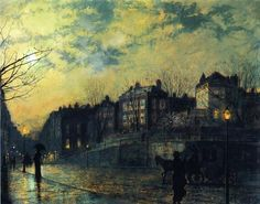 John Atkinson Grimshaw;  Hampstead Hill, looking down Heath Street (1881)