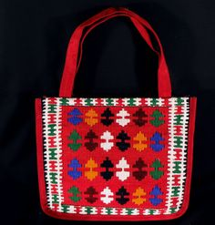 Shop for handbags on Etsy, the place to express your creativity through the buying and selling of handmade and vintage goods. Red Bags, Persian, Reusable Tote Bags, Colorful, Shoulder Bag, Traditional, Wool, Trending Outfits, Unique Jewelry
