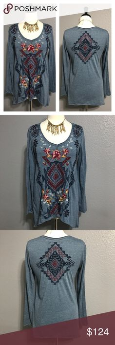 """♠️JWLA Johnny Was BOHO Aztec Embroidered Tunic S FEATURES:  🔘Brand: Johnny Was Los Angeles 🔘V neckline  🔘intricate embroidery detail on the front and back  ITEM SPECIFICS:  🔘Length: 27"""" and 31""""  🔘Bust: 36"""" 🔘Color: blue  🔘Fabric: polyester, cotton 🔘Condition: EUC  🔴NOTE: all measurements are approximate and color in photo could vary slightly due to lighting  ❌No trades ✔️Reasonable offers accepted ✔️Fast shipping - same day/next day  🚭Pet free/smoke free home. Johnny Was Tops Tunics"""