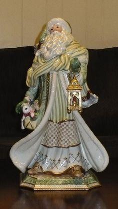 "Fitz and Floyd 21"" Tall Gregorian Santa Porcelain Figurine Great Condition w/Box"