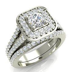 1.25 ct tw Cushion Halo Split Shank Diamond Engagement Ring Set 14K Gold (G,SI) Extra-Ordinary Quality