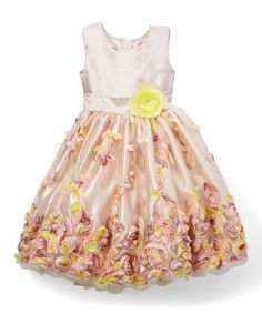 This Cream Floral Appliqué Dress - Infant, Toddler & Girls is perfect! #zulilyfinds