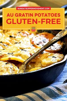 Our Gluten Free Au Gratin Potatoes is a classic potato side dish. It's an easy holiday dinner idea bursting with flavor from creamy garlic potatoes and a cheesy crust, giving it the same feeling as a fancy mac and cheese recipe. Best of all, this Au Gratin recipe is gluten free! Easy Baked Potato, Potato Wedges Baked, Twice Baked Potatoes, Tasty Potato Recipes, Easy Recipes, Easy Meals, Fancy Mac And Cheese, Cheesy Crust, Potatoes Au Gratin