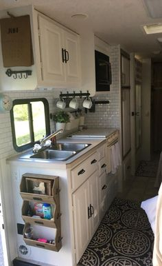 Peel and stick tile backsplash used in motorhome makeover by Kelly O'Brien