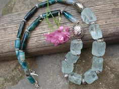 Rough Cut Chunky Aquamarine Faceted Agate Necklace Statement