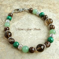 Beaded Bracelet for Men Green Malachite and Natural Stone Handmade | Mamis_Gem_Studio - Jewelry on ArtFire
