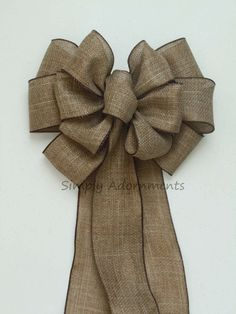 Rustic Burlap Wedding Aisle Bow, Burlap Wedding Pew Bow by SimplyAdornmentsss,