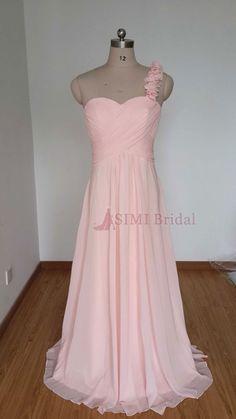 2015 One-shoulder Sweetheart Pearl Pink Chiffon Long Bridesmaid Dress