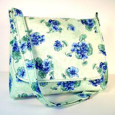 Messenger Purse Cross Body Bag - Periwinkle Blue Flowers on Mint Green Cotton