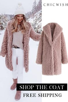 Feeling of warmth – faux fur longline coat - Moda Life Winter Fashion Outfits, Autumn Winter Fashion, Winter Outfits, Fashion Days, Fall Winter, School Fashion, Winter Dresses, Fashion Boots, Unique Fashion