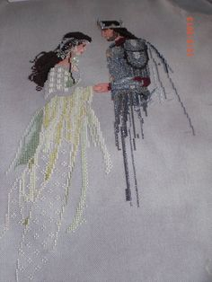 awesome katefreddy cross stitch conversion:  arwen and king lavender and lace celtic lady